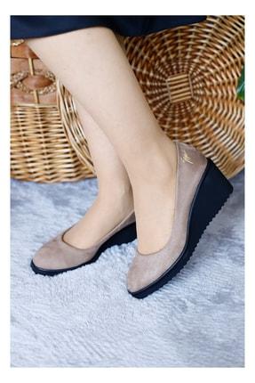 PUNTO Kadın Vizon Mevsimlik Dolgu Topuklu Ayakkabı