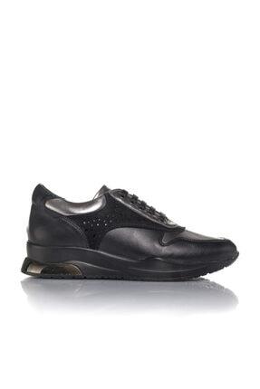 İnci Kadın Siyah Vegan Cilt Bağcıklı Klasik Spor Ayakkabı -i3024