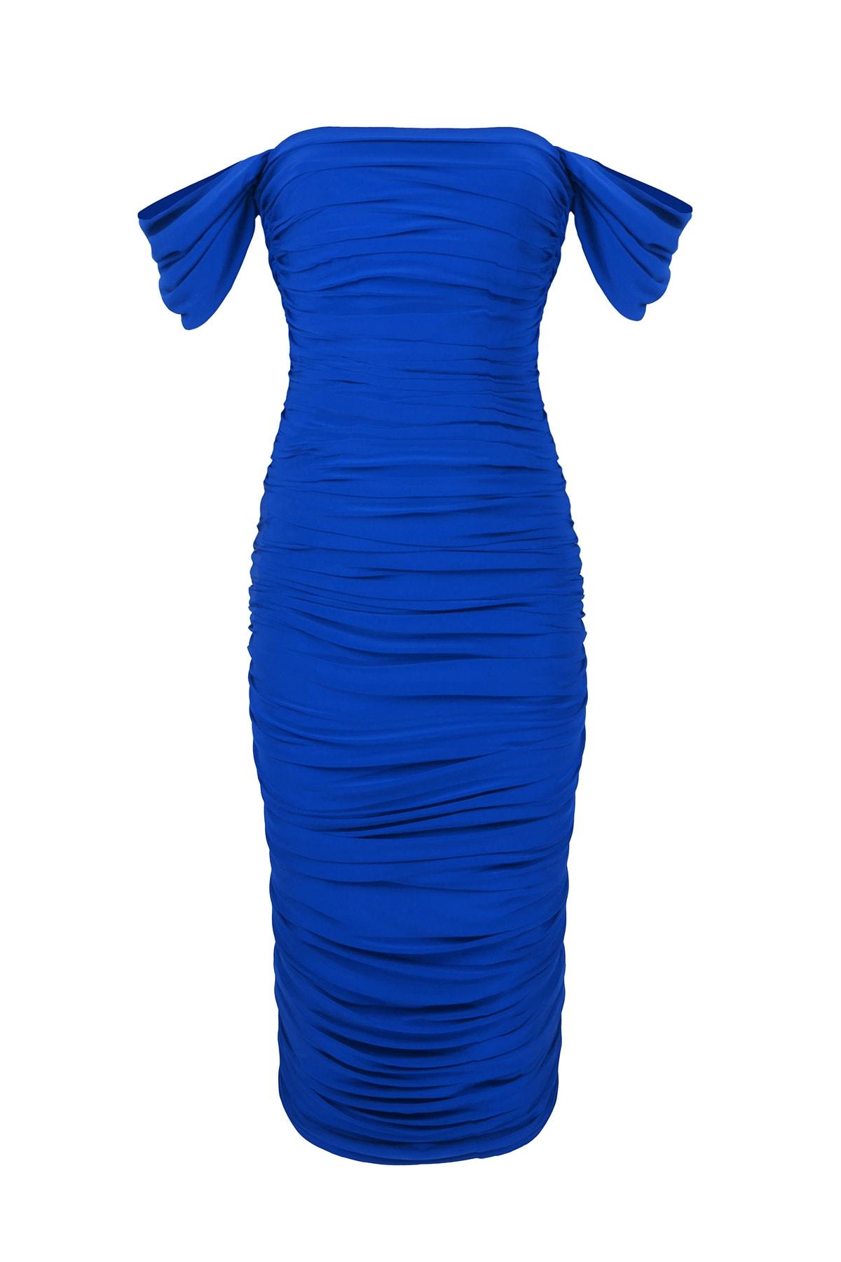 Whenever Company Saks Mavi Düşük Kol Degajeli Drapeli Midi Elbise 1