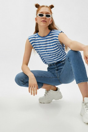 Koton Kadın Mavi Çizgili T-Shirt 1YAL18541IK