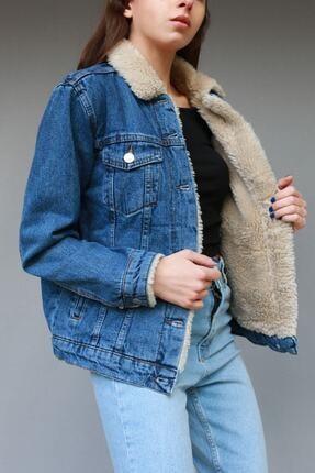 VOHOSHOP Kadın Içi Kürklü Kot Ceket