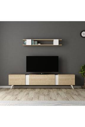 ARNETTİ Valens Tv Ünitesi Yaşam Odası, Salon, Ve Oturma Odası, Tv Sehpası Beyaz-safirmeşe
