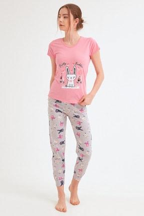 Fulla Moda Kadın Pembe Tavşan Baskılı Pijama Takımı