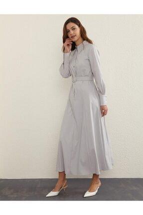 Kayra Kuşaklı Gömlek Yaka Elbise Gri B21 23120