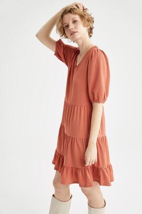 DeFacto Kadın Bordo Volan Detaylı Balon Kolu V Yaka Elbise