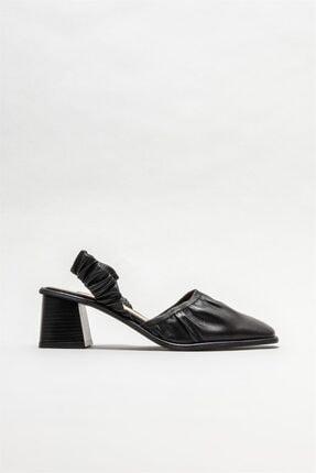 Elle Shoes Siyah Deri Kadın Topuklu Ayakkabı
