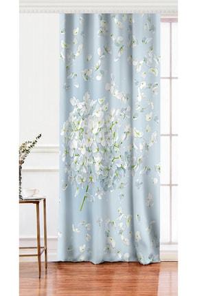 Realhomes Tek Kanat Mavi Zeminde Beyaz Ortanca Çiçeği Baskılı Dijital Baskılı Fon Perde