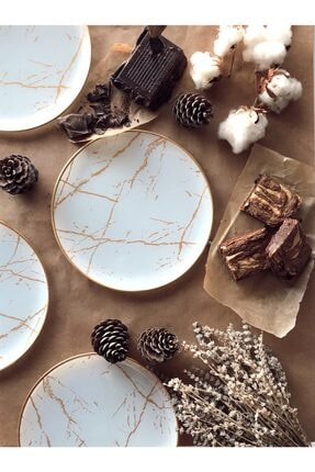 CVK Home Beyaz Mermer Desenli  Servis Tabağı 6'lı 26 cm