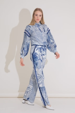 xGIZIA Işlemeli Şerit Detaylı Desenli Mavi Poplin Pantolon