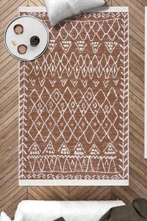 Caretta Home Kahverengi Beyaz Saçaklı Mistik Desenli Dokuma Kilim