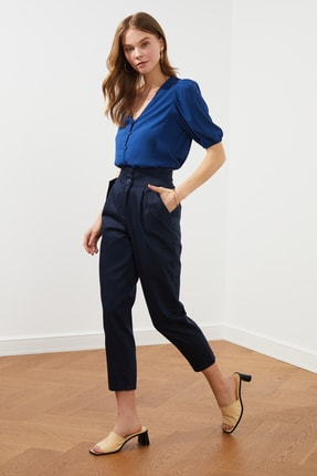 TRENDYOLMİLLA Lacivert Cep Detaylı Pantolon TWOSS21PL0271