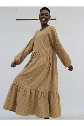 Die&More Kadın Kahverengi Pötikareli Uzun Elbise