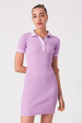 Robin Lila Düğmeli Polo Yaka Triko Elbise