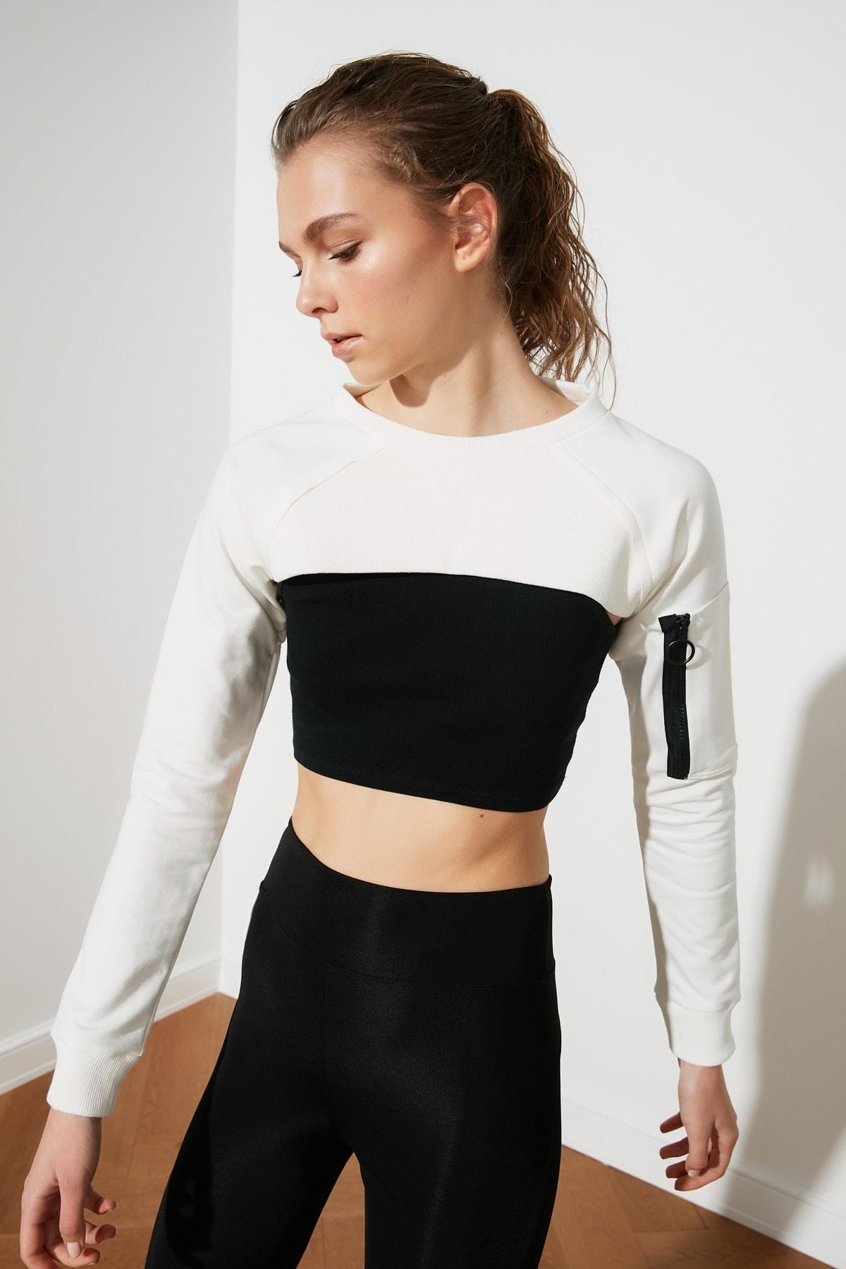 TRENDYOLMİLLA Beyaz Crop Spor Sweatshirt TWOSS20SW0104 1