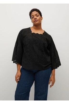 Violeta by MANGO Kadın Siyah Ajurlu Koton Bluz