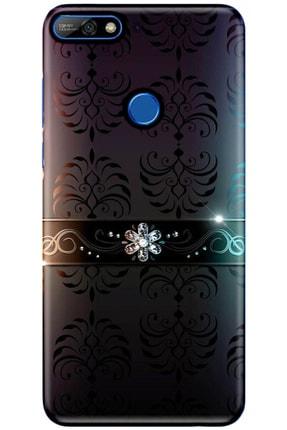 Turkiyecepaksesuar Huawei Y7 2018 Desenli Kılıf + Tam Ekran Kaplayan Kırılmaya Dayanaklı 5d Cam