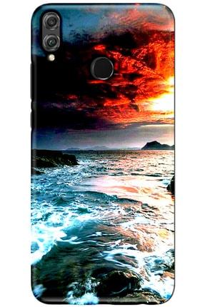 Turkiyecepaksesuar Huawei Honor 8x Desenli Kılıf + Temperli Ekran Koruyucu Cam