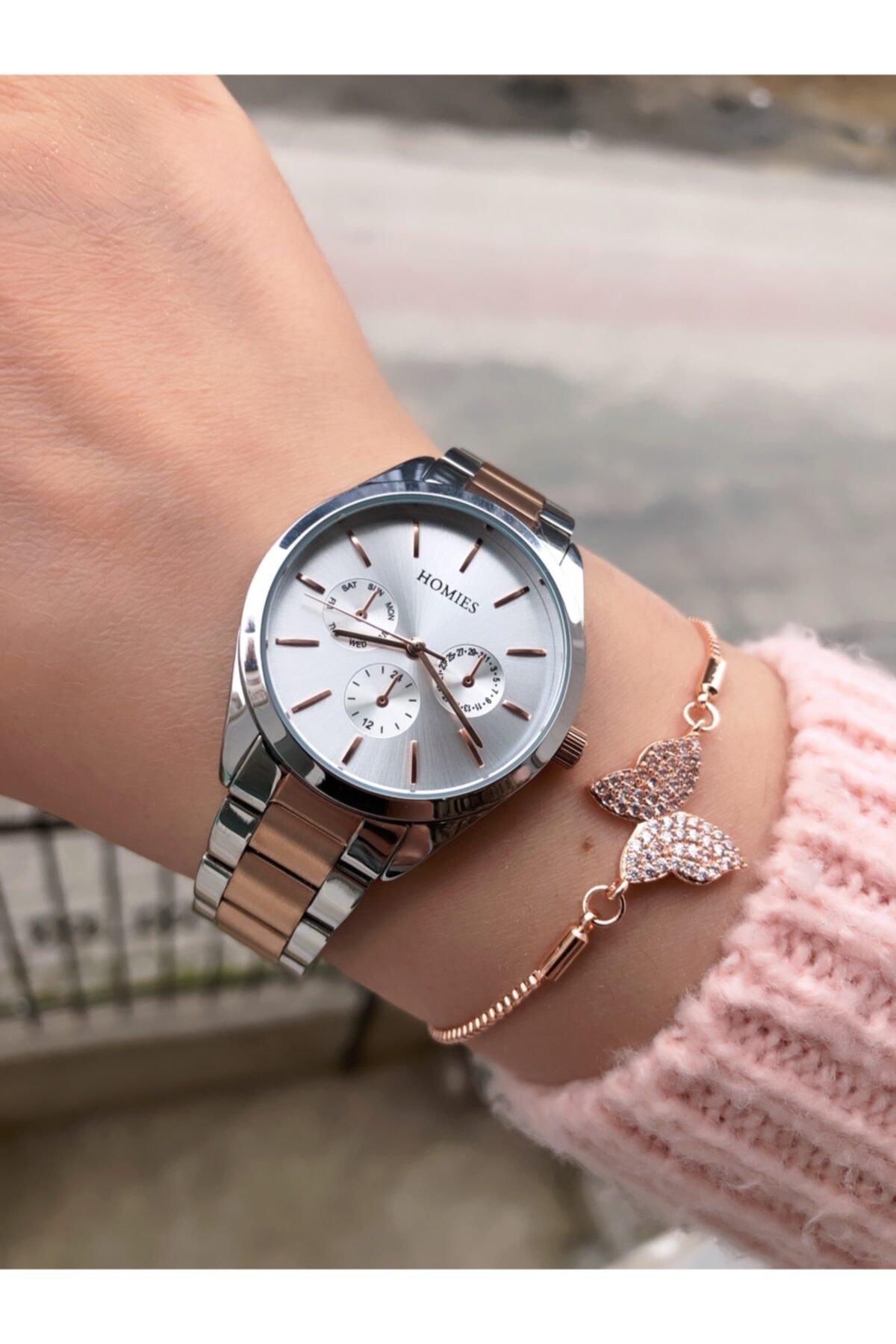 Homies Kadın Gümüş Rose Saat + Bileklik 1