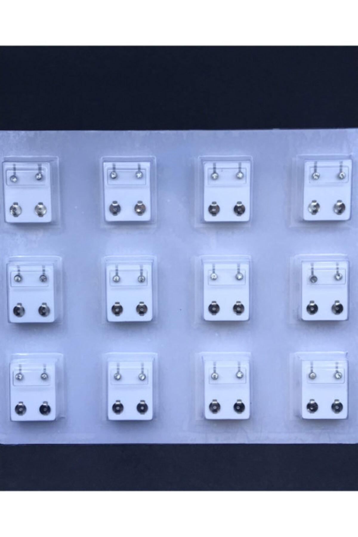 Akarslan Collection 12 Çift Tektaş Modeli Gümüş Rengi Cerrahi Kulak Delme Küpesi 1