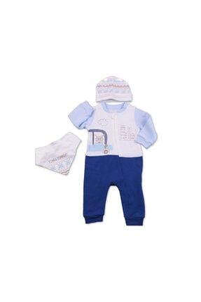 Tongs Baby Unisex Bebek Mavi Fermuarlı Tulum 2321