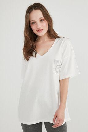 Penti Kadın Beyaz Pft V Neck Oversize T-Shirt