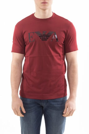 Emporio Armani Erkek Logo Baskılı Pamuklu Bisiklet Yaka Kısa Kollu T-shirt