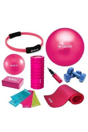 Delta 85-20cm Pilates Topu 10mm Minderi Foam Roller Yoga Blok Set