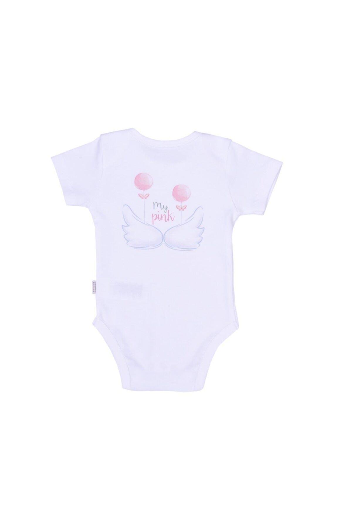 kitikate Kız Bebek Beyaz Organik Angel Amerikan Yaka Body 86591 1