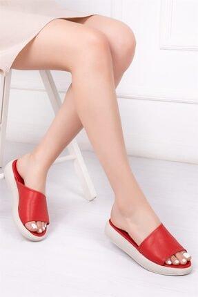 Deripabuc Hakiki Deri Kırmızı Kadın Deri Sandalet Dp-1843