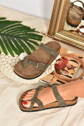 Fox Shoes Kadın Yeşil Süet Parmak Arası Terlik K777613402