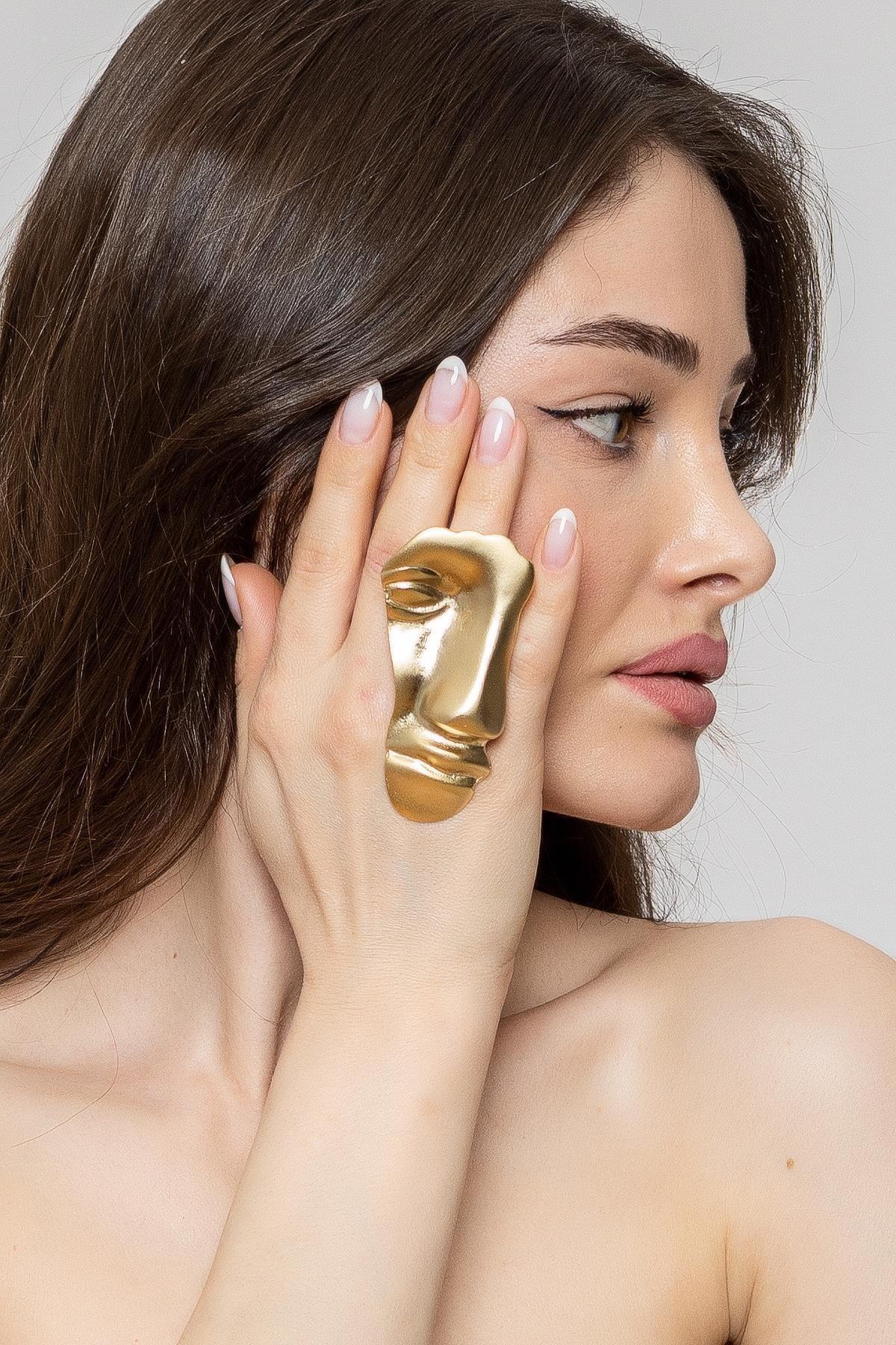 ZeyDor Accessories Kadın Gold Silüet Yüzük 2