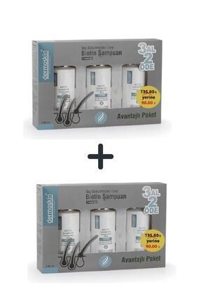 Dermoskin Biotin Şampuan Saç Bakımı Dökülmesi 3 Al 2 Öde Kofre Erkek 200 Ml 2'li Avantaj Set