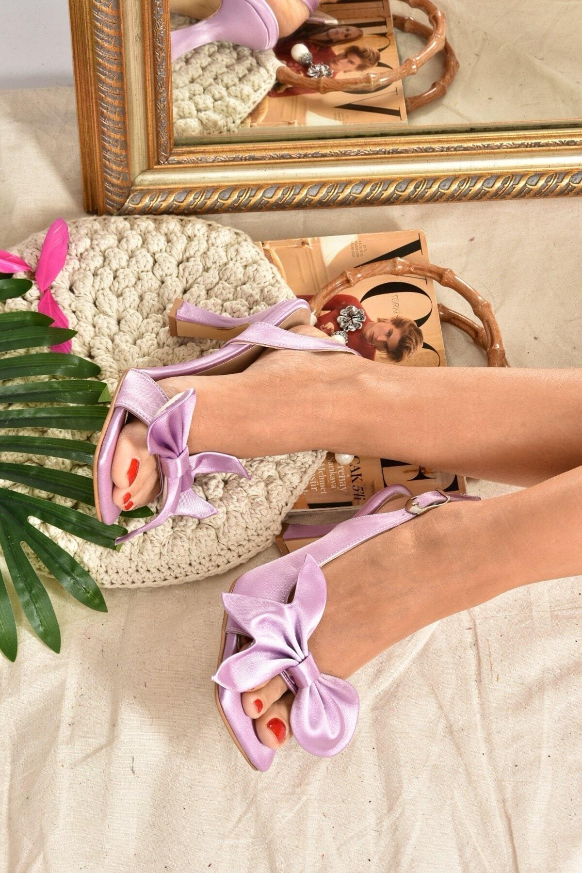 Fox Shoes Kadın Lila Saten Kurdele Detaylı Topuklu Ayakkabı K749384904 2