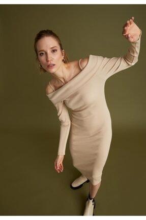 DeFacto Kadın Ekru Carmen Yaka Ip Askılı Uzun Kollu Pamuklu Elbise