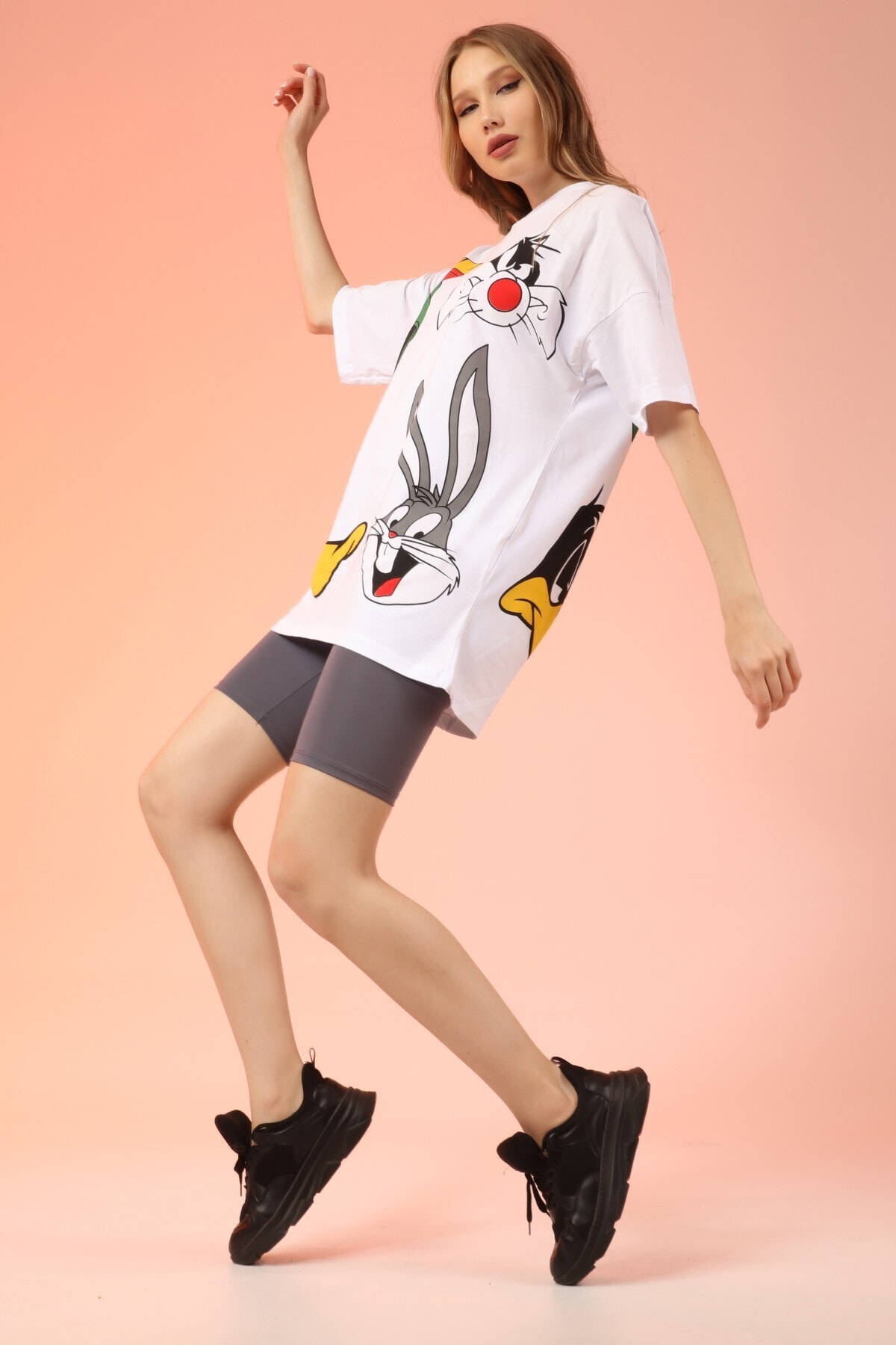 Rocqerx Unisex Beyaz Bugs Bunny Baskılı Tshirt 2