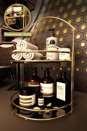 Bino Banyo Düzenleyici Organizer Takı Kozmetik Havlu Rafı Standı 2 Katlı 40cm
