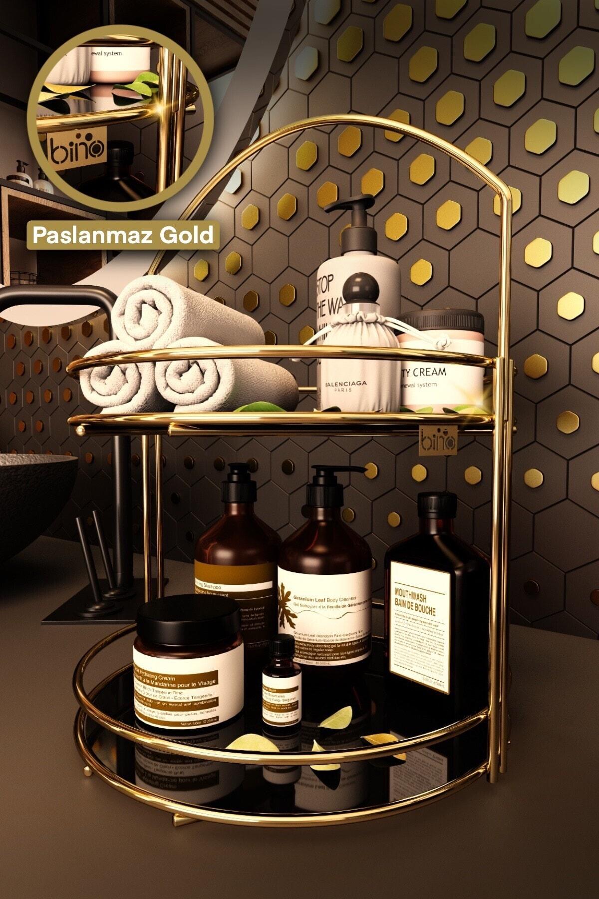 Bino Banyo Düzenleyici Organizer Takı Kozmetik Havlu Rafı Standı 2 Katlı 40cm 1