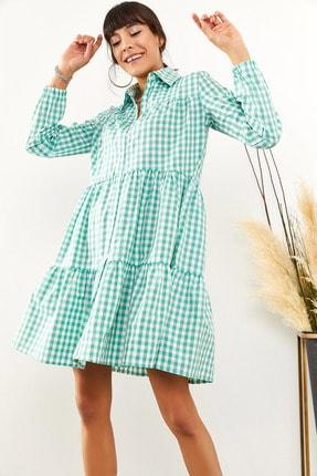 Olalook Kadın Mint Yeşili Minik Ekose Salaş Gömlek Elbise ELB-19001397