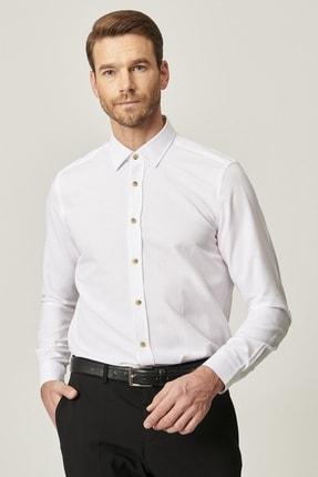 AC&Co / Altınyıldız Classics Erkek Beyaz Tailored Slim Fit Dar Kesim Düğmeli Yaka Oxford Gömlek
