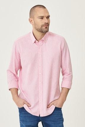 AC&Co / Altınyıldız Classics Erkek Koyu Pembe Tailored Slim Fit Dar Kesim Düğmeli Yaka Keten Gömlek