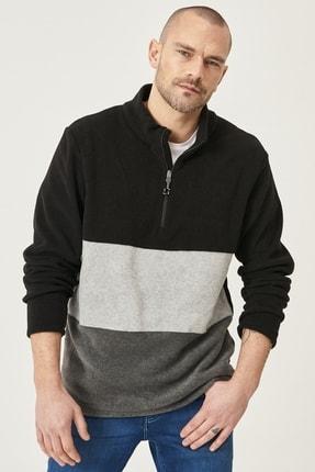 AC&Co / Altınyıldız Classics Erkek SIYAH-GRI MELANJ Standart Fit Günlük Rahat Bato Yaka Polar Sweatshirt