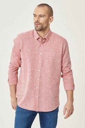AC&Co / Altınyıldız Classics Erkek Kırmızı Tailored Slim Fit Dar Kesim Düğmeli Yaka Keten Gömlek