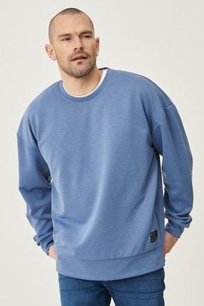 AC&Co / Altınyıldız Classics Erkek İndigo Günlük Rahat Sıfır Yaka Oversize Spor Sweatshirt