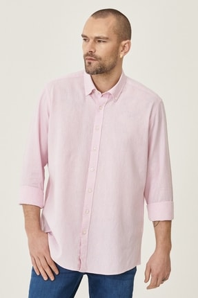 AC&Co / Altınyıldız Classics Erkek Pembe Tailored Slim Fit Dar Kesim Düğmeli Yaka Keten Gömlek
