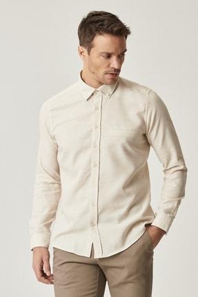 AC&Co / Altınyıldız Classics Erkek Bej Tailored Slim Fit Dar Kesim Düğmeli Yaka Kışlık Gömlek