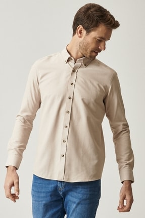 AC&Co / Altınyıldız Classics Erkek Bej Tailored Slim Fit Dar Kesim Düğmeli Yaka Gabardin Gömlek