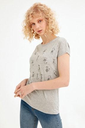 Fulla Moda Kadın Gri Simli Kedi Baskılı Tshirt