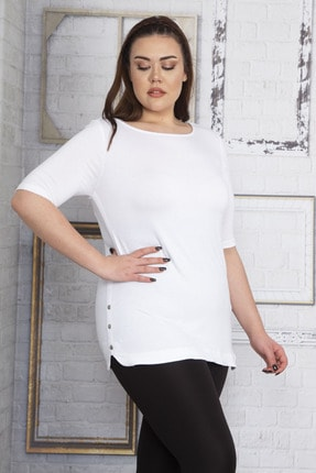 Şans Kadın Beyaz Yanları Süs Çıtçıt Düğmeli Viskon Bluz 65N22751