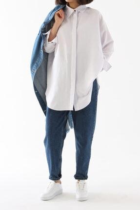 ALLDAY Beyaz Gizli Patlı Pamuklu Gömlek Tunik