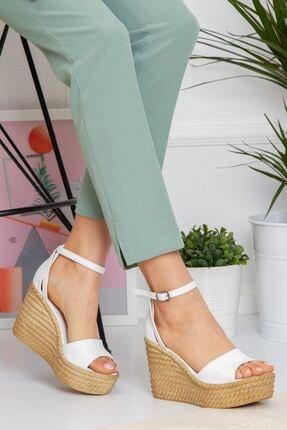 derithy Kadın Beyaz Vinle Dolgu Topuklu Ayakkabı lzt0590